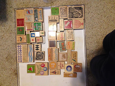 Lot of 48 Wooden Rubber Stamps for Scrapbooking Crafting Mixed New & Used Words