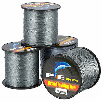 Gray 40LB 500M 4strands Braid PE Line Dyneema Spectra braided Sea Fishing Line