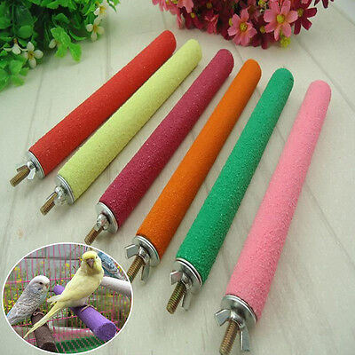 Birds Parrot Cage Claw Rod Organic Sand Stick Perch Cover For Trim Healthy Claws