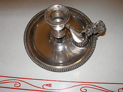 Silver Plate Antique Chamber Candle Stick & Snuffer