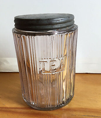 "Vintage Hoosier Clear""TRIPLE SKIP"" Glass Canister Tea Jar With Tin Lid"
