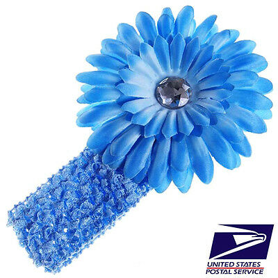 US Stock Cute Blue Baby Boy Girl Kid Crochet Headband Hair Band Flower