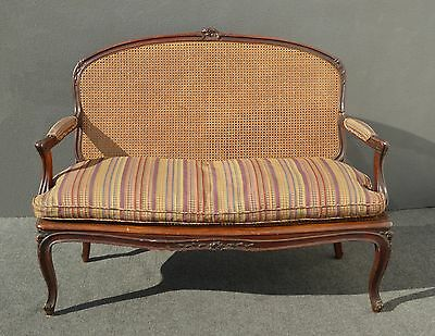 Beautiful Vintage French Country Carved Wood Cane SETTEE w Down Cushion Loveseat