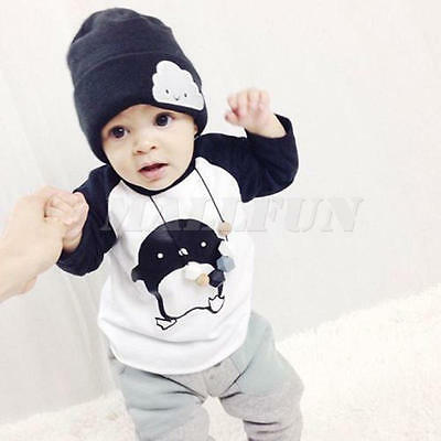 Newborn Baby Boy Infant 2PCS Set Long Sleeve Tops+ Pants Overall Outfits 3-4 Y