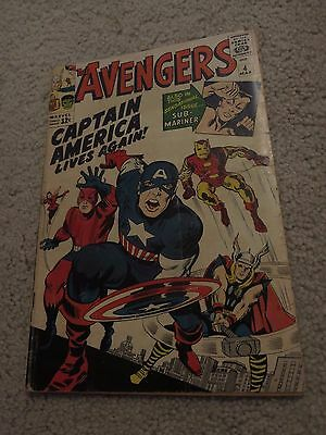Avengers  4  VG-  3.5   1st Siver Age Captain America   Iron Man  Infinity Wars