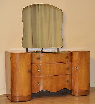 Vintage Art Deco Bow Front Walnut Dressing Chest Table Drawers Mirror Dresser