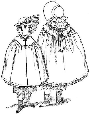 """1854 Cloak and Bonnet  Sewing Pattern Fits 18"""" American Girl Doll #56"""
