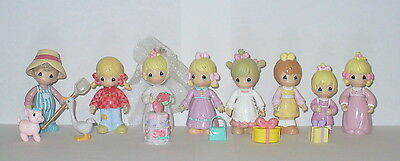 Precious Moments Mini Figurines Set Of 8 Includes Accessories
