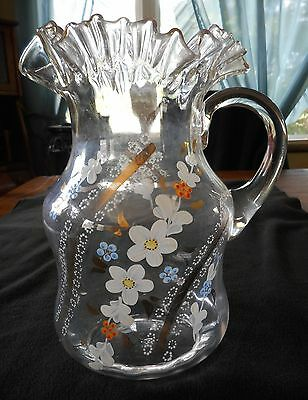 Victorian Hand Enameled Floral Pattern Optic Water Pitcher