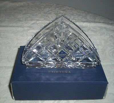 "Bohemia ""cortina"" Lead Crystal Napkin Serviette Holder-As New."