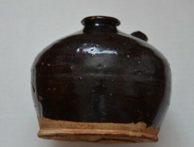 Late Qing Dynasty Chinese Railroad Brown Glazed Pottery Soy Pot