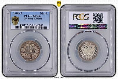 Germany 1908-A 1 Mark, PCGS MS66, beautiful toning