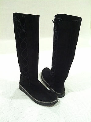 WOMEN'S MOSQUITOS BLACK SUEDE LACED UP KNEE HIGH BOOTS sz 7.5