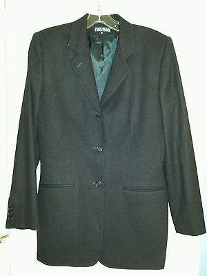 Nautica Women Solid Navy Blue Classic Wool Blazer Size 10 Tapered Lined Jacket