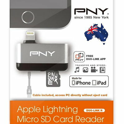 NEW PNY Apple Lightning microSD Card Reader for Apple iPhone iPad iPod