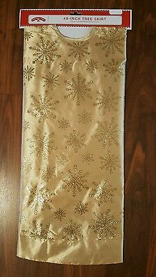 """Holiday Time 48"""" Christmas Tree Skirt Gold Glitter Snowflake Bright Pretty"""
