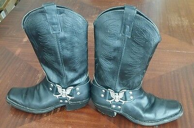 Vintage used leather black cowgirl biker boots. Texas western boots size 7