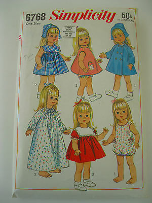 """Simplicity 18"""" Doll Pattern, #6768  Fits Susie Sunshine/Goody Two Shoes Dolls"""