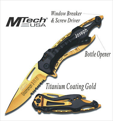 8 Groomsmen Gift-Personalized,Engraved, Rescue Survival Pocket Hunting Knife-GD