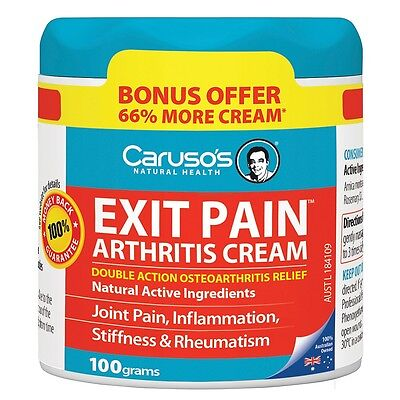 Caruso's Exit Pain Arthritis Cream 100G Double Action Joint Pain Carusos