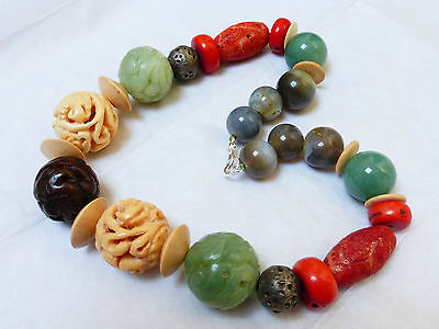 Chinese Vintage Carved Jade, Coral, Agate Sterling Silver Beads Necklace, 186G