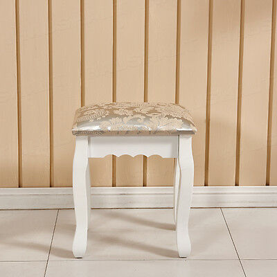 Bedroom White Wooden Padded Dressing Table Makeup Stool Piano Seat Baroque UK
