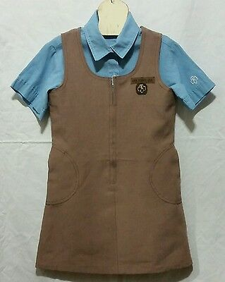 Vintage Brownie Scouts Jumper With Pin Button Down Short Sleeve Top Size 7 Zip