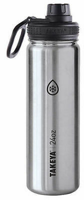Takeya ThermoFlask Silver Double Wall Insulated Stainless Steel 24oz Bottle