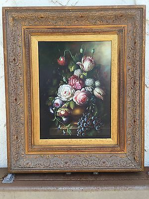 """Beautiful Antique Oil Painting On Canvas Fruit Still Life Signed 20"""" X 24""""."""