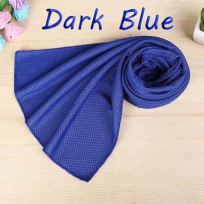 Instant Cooling Towel Chilling Ice Cold Gym Outdoor Sports & Camping - Dark Blue