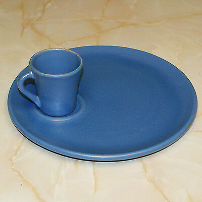 Rare Vintage Catalina Island Pottery Luncheon Set in Rancho Blue Matte