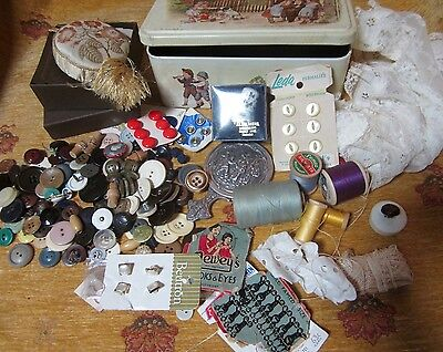 Vintage French Biscuit Tin & Old Sewing Items Thimble Silk Pin-Cushion Buttons