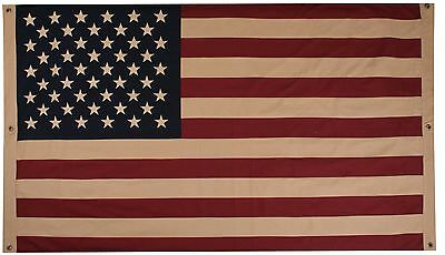 Large Vintage Tea Stained American Double Sided Cotton Flag    Stars and Stripes