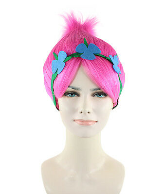 Troll Princess Poppy Style Elf Pixie Gnome Cosplay Costume Pink Wig HW-1079