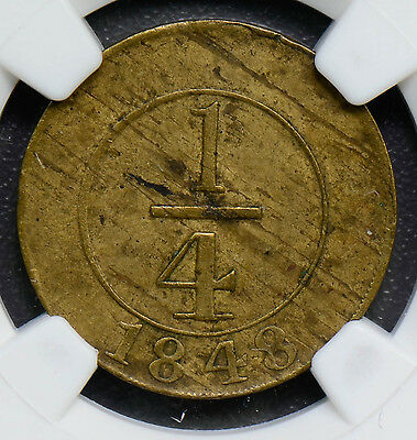 NG0307 Dominican Republic 1848  1/4 Real   NGC XF40 crosslet 4  combine shipping