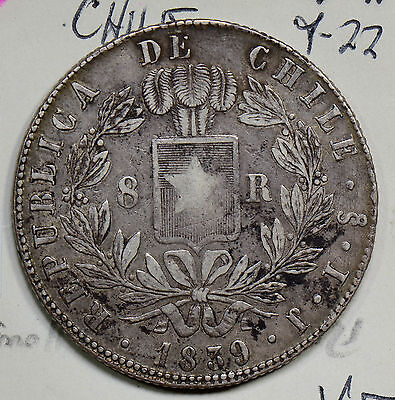 C0201 Chile 1839  8 Reales silver   combine shipping