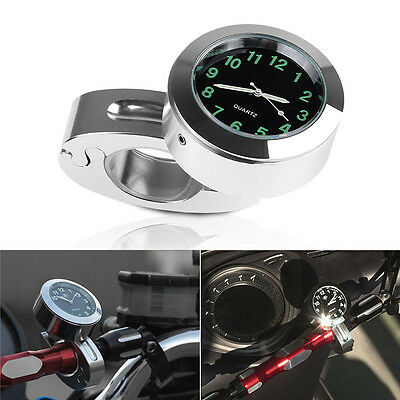 "Waterproof 7/8"" 1""  Motorcycle Handlebar Mount Quartz Clock Watch Universal"