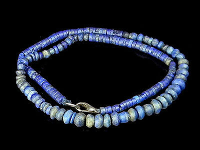 Exquisite Old Collection Antique Lapis Spindle Whorl Near Eastern Bead Necklace