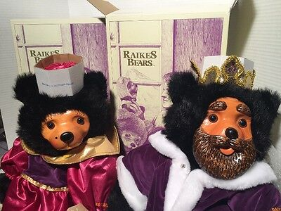 Lot of 2- Raikes 1990 Royal Court Collector Set of Hand Carved Wood Faced Bears