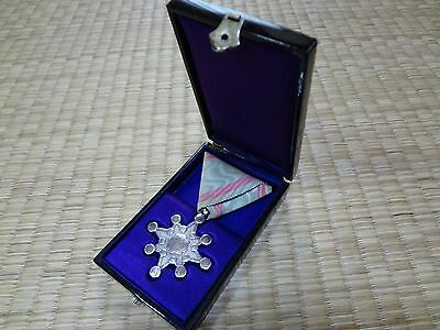 WWII WW2 Japanese Order of the Sacred Treasure 8th Cl. Medal Japan Silver AA3