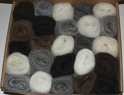 Ultimate Natural Wool Tops Box 25 Different Wools - Needle Felting Free Post