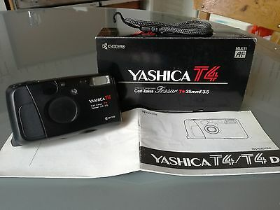 CAMERA Kyocera Yashica T4 35mm Point & Shoot macchina fotografica vintage