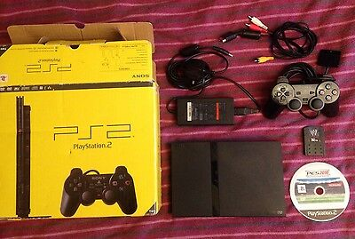 Ps2 Slimline Console Boxed + PES 2010 Football Game & Controller + Cables + 32mb