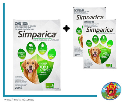 Simparica for Large dogs 20-40kg 6 pack Flea, Tick and Mite treatment *Plus 2 FR