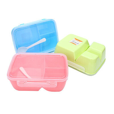 3Ccompartments Microwave Lunch Box Picnic Bento Food Container Storage+Spoon