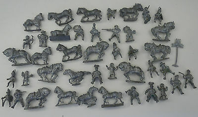43 x Vintage Miniature Lead Figures - Soldiers, Knights, Horses, Banner BULK VGC