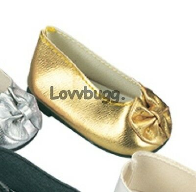 160093a5e900 Gold Bow Ballet Flats for American Girl 18