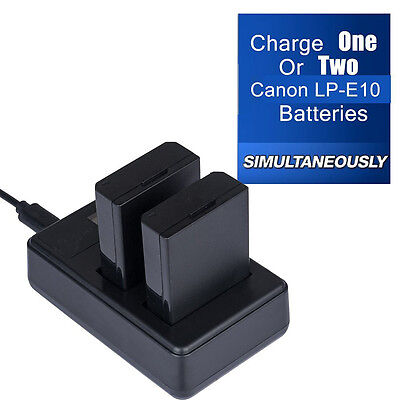 Dual Battery Charger  For CANON LP-E10 LPE10 EOS 1100D 1200D KISS X50 Rebel T3