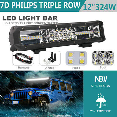 12INCH PHILIPS 324W Tri-Row LED Work Light Bar Spot Flood Beam Driving Lamp ATV