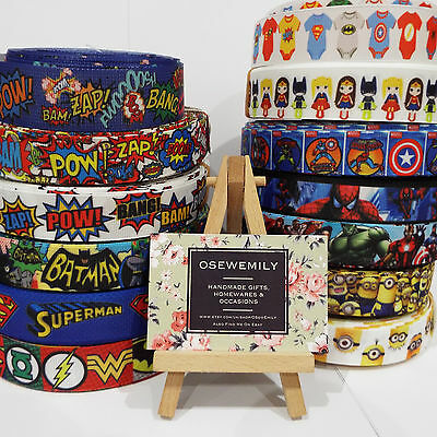 1 Metre Superheroes Grosgrain ribbon 22/25mm Party Cake/ Hair Bows/ Gift Wrap